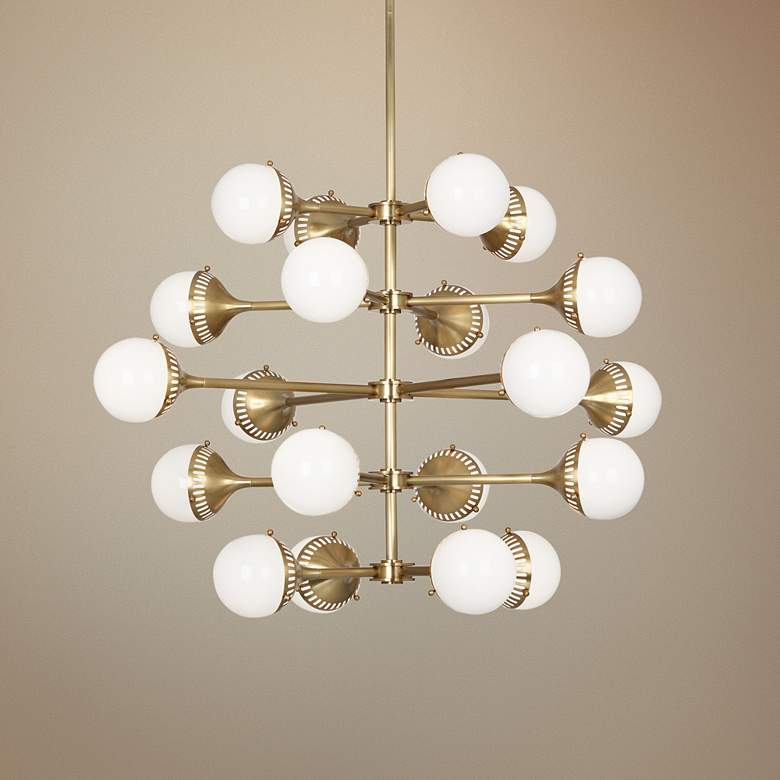 "Jonathan Adler Rio 40""W Antique Brass 20-Light Chandelier"