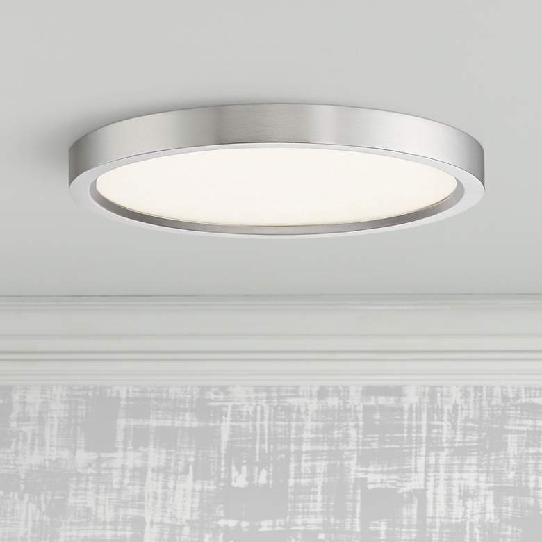 "Quoizel Outskirt 11"" Wide Brushed Nickel LED Ceiling Light"