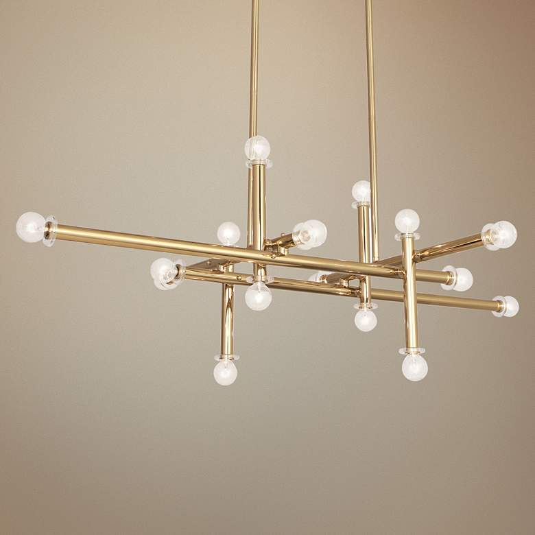 "Milano 48"" Wide Polished Brass 16-Light Linear Chandelier"