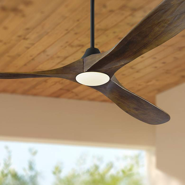 "70"" Maverick Max Matte Black - Dark Walnut LED Ceiling Fan"