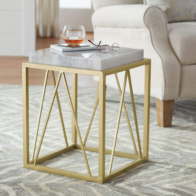 "Julia 15 1/2"" Wide Gold and Marble Accent Table"
