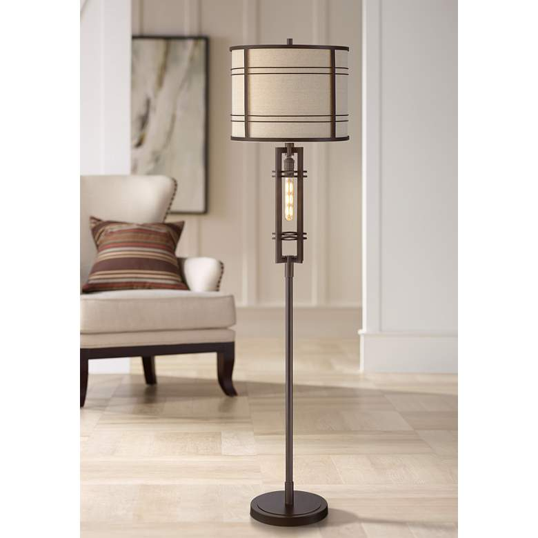Elias Oil-Rubbed Bronze Floor Lamp with LED Night
