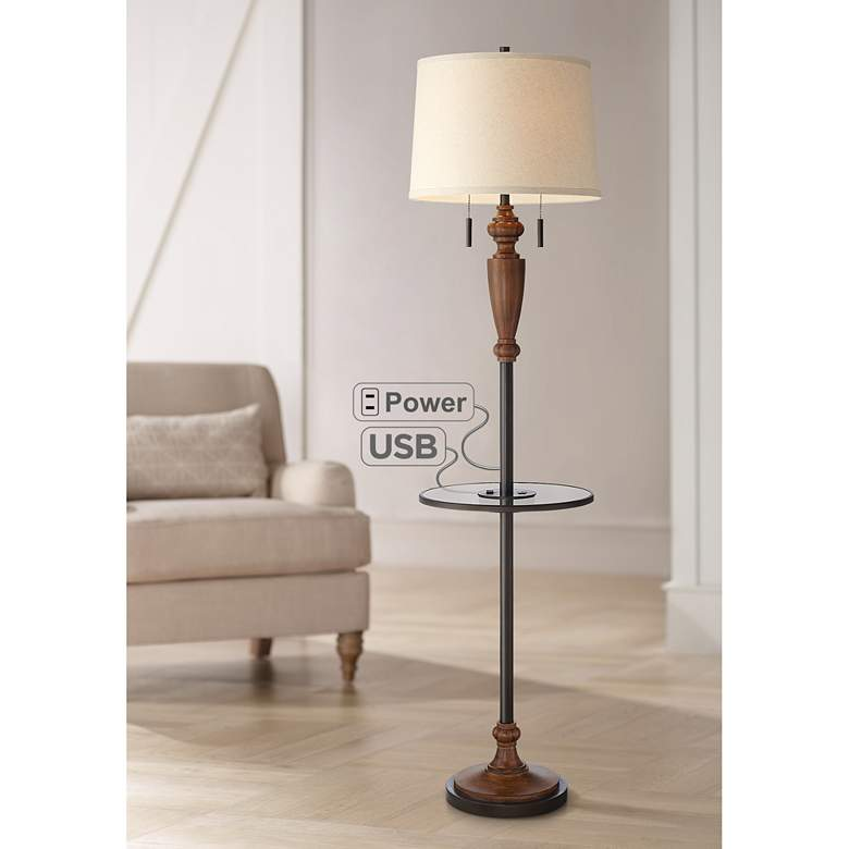 Penfield Tray Table Floor Lamp with Outlet and USB Port