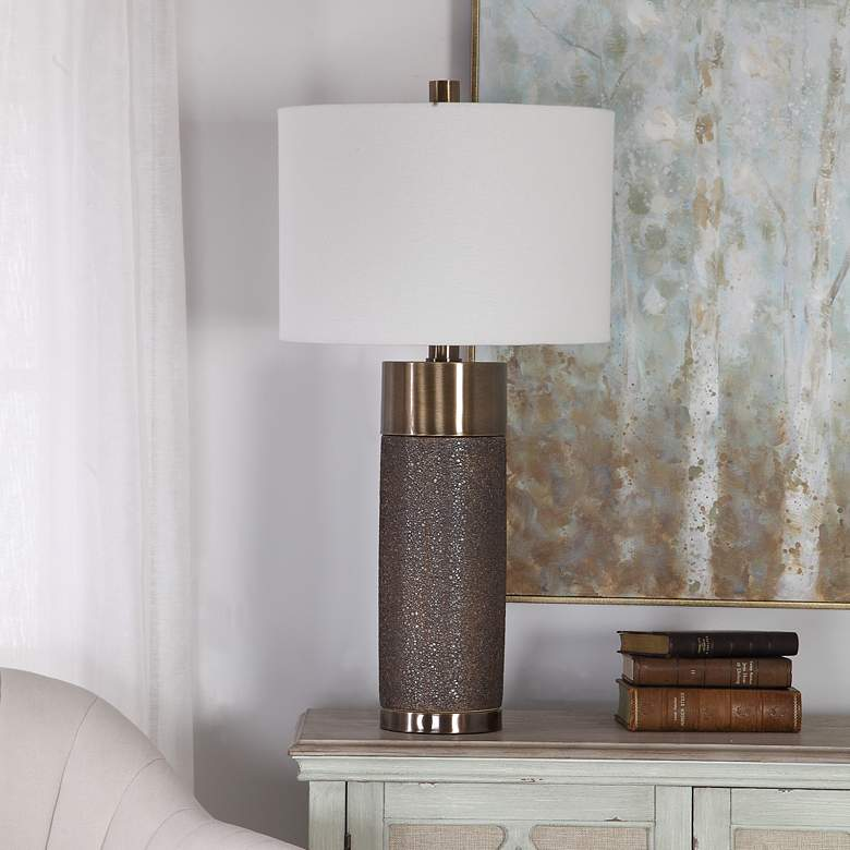 Uttermost Brannock Metallic Golden Bronze Ceramic Table Lamp
