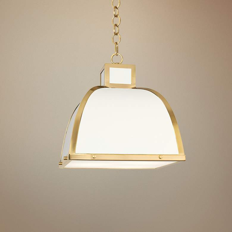 "Robert Abbey Ranger 17 1/2""W White and Brass Pendant Light"