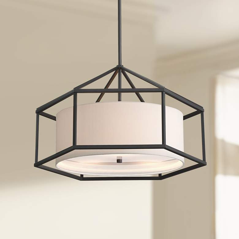 "Atlantic 24"" Wide 3-Light Black Hexagon Pendant Light"