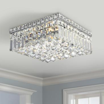 "Maxime 12"" Wide Chrome and Clear Crystal Ceiling Light"