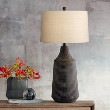 Rocco Black Hammered Jar Table Lamp
