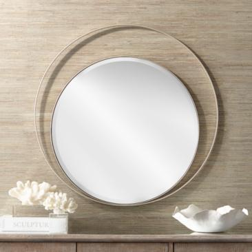 "Possini Euro Keri 31 1/2"" Silver Asymmetrical Wall Mirror"