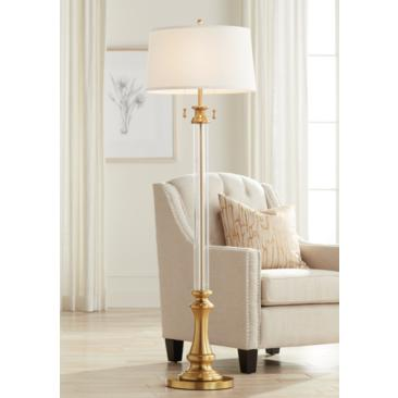 Rolland Warm Antique Brass Clear Crystal Column Floor Lamp