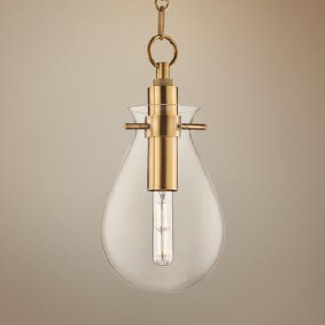 "Ivy 7 1/2"" Wide Aged Brass LED Mini Pendant with Clear Glass"