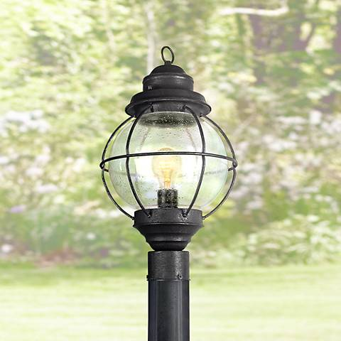 "Tulsa Lantern 19"" High Black Outdoor Post Light Fixture"