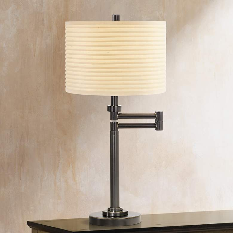Neat Pleat Bronze Swing Arm Desk Lamp