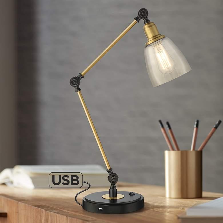 Astounding Rollie Antique Brass Adjustable Desk Lamp With Usb Port Download Free Architecture Designs Viewormadebymaigaardcom
