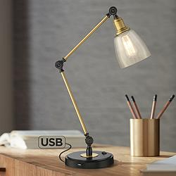 Rollie Antique Brass Adjustable Desk Lamp with USB Port