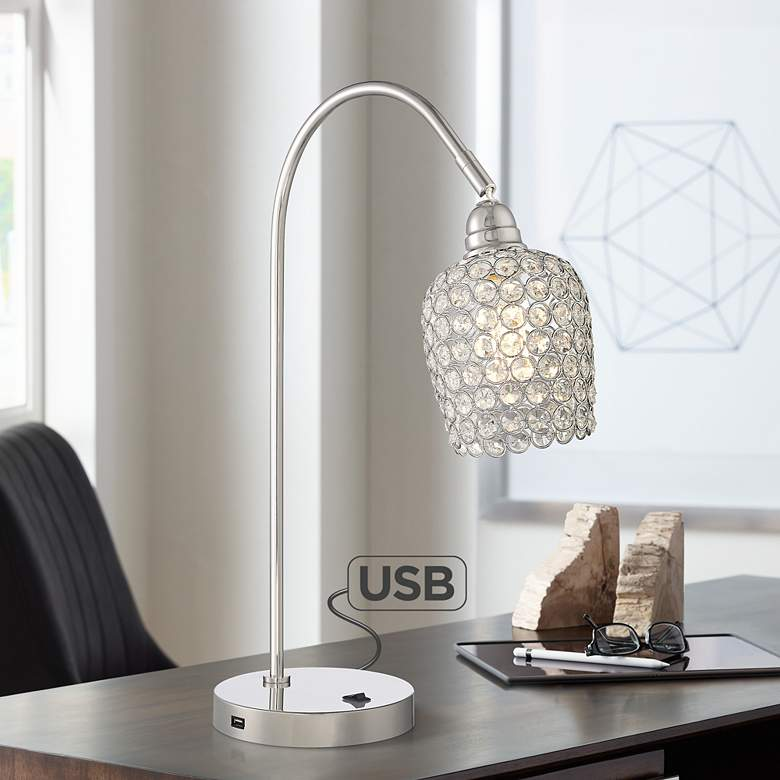 Erin Polished Nickel Beaded Crystal Desk Lamp with USB Port