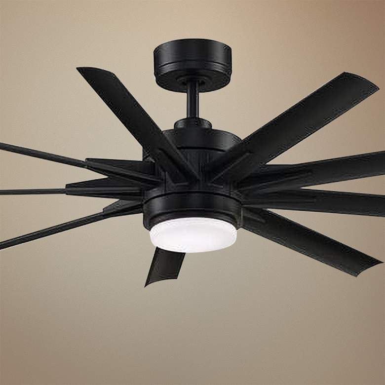 "56"" Fanimation Odyn Custom Black LED Ceiling Fan"