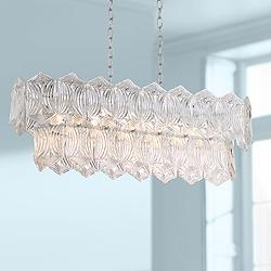 "Darlene 33"" Wide Crystal 10-Light LED Island Chandelier"