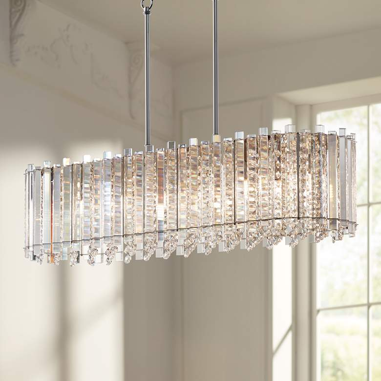"Mirabell 34"" Wide Crystal LED Kitchen Island Light Pendant"
