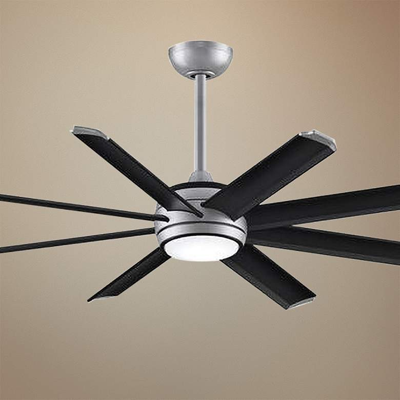 "56"" Stellar Custom Black Blade Silver Motor LED Ceiling Fan"