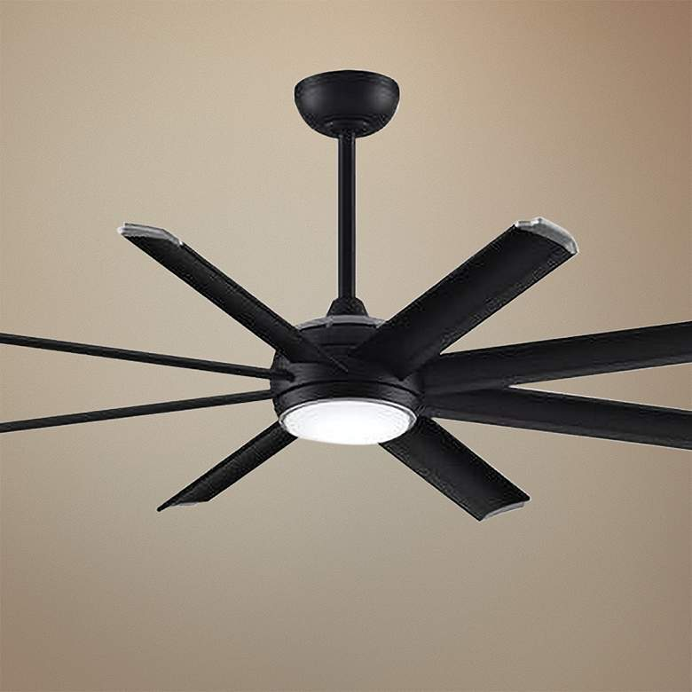 "56"" Fanimation Stellar Custom All Black LED Ceiling Fan"