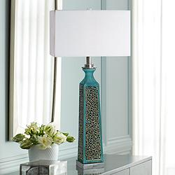 Uttermost Camille Aged Turquoise Glaze Ceramic Table Lamp
