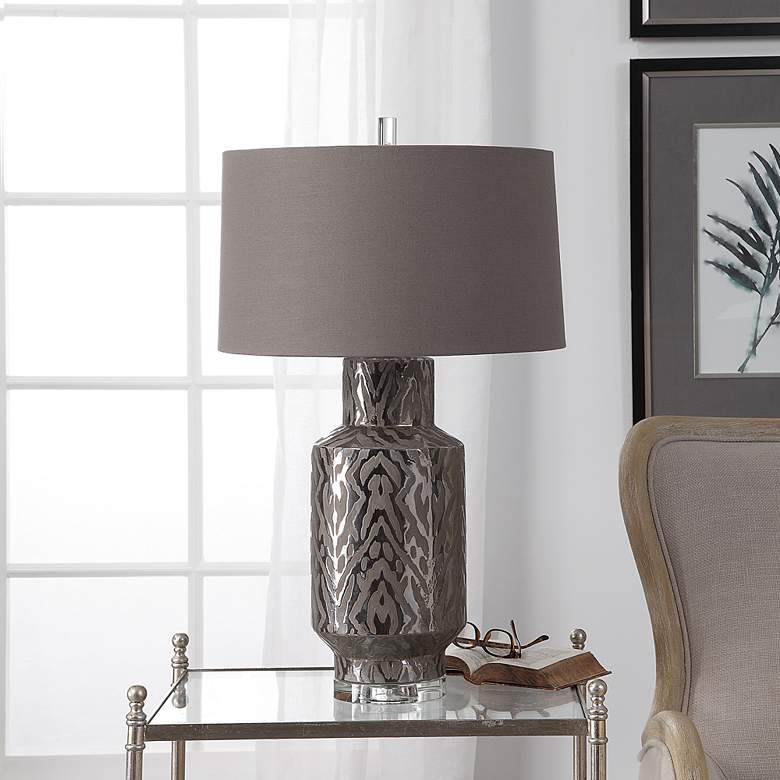 Uttermost Zelda Metallic Bronze Glaze Ceramic Table Lamp