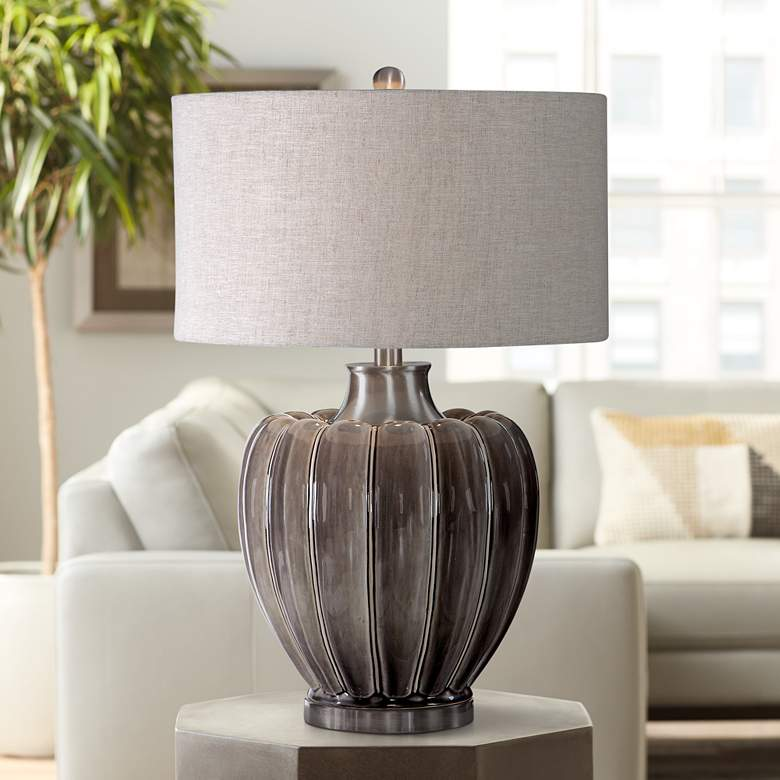 Uttermost Adler Smoky Gray Glaze Ceramic Table Lamp