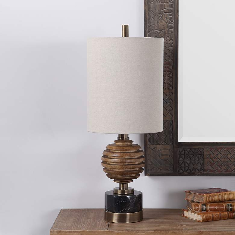 Uttermost Anatola Mahogany Stain Sphere Buffet Table Lamp