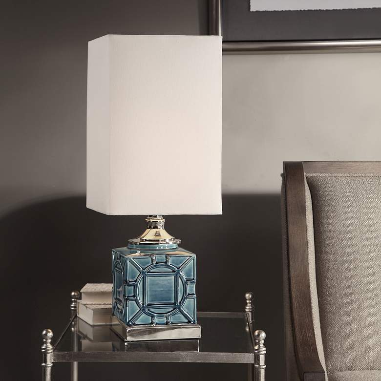 Pacorro Crackled Blue Glaze Ceramic Buffet Table Lamp