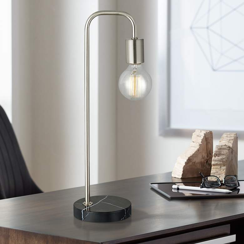 Haskell Brushed Nickel Desk Lamp with Black Faux