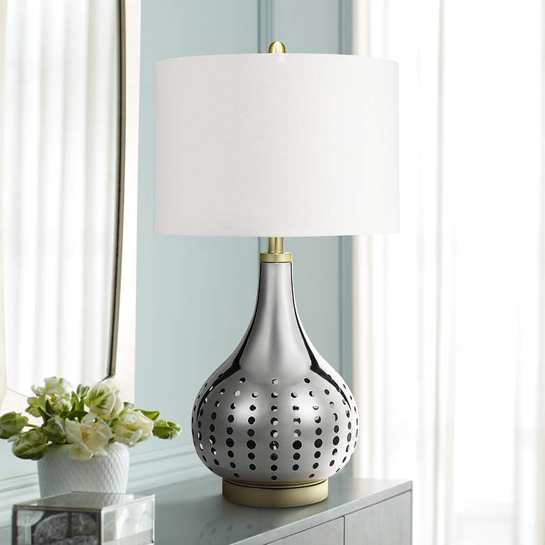Bibi Brushed Nickel LED Table Lamp with Night