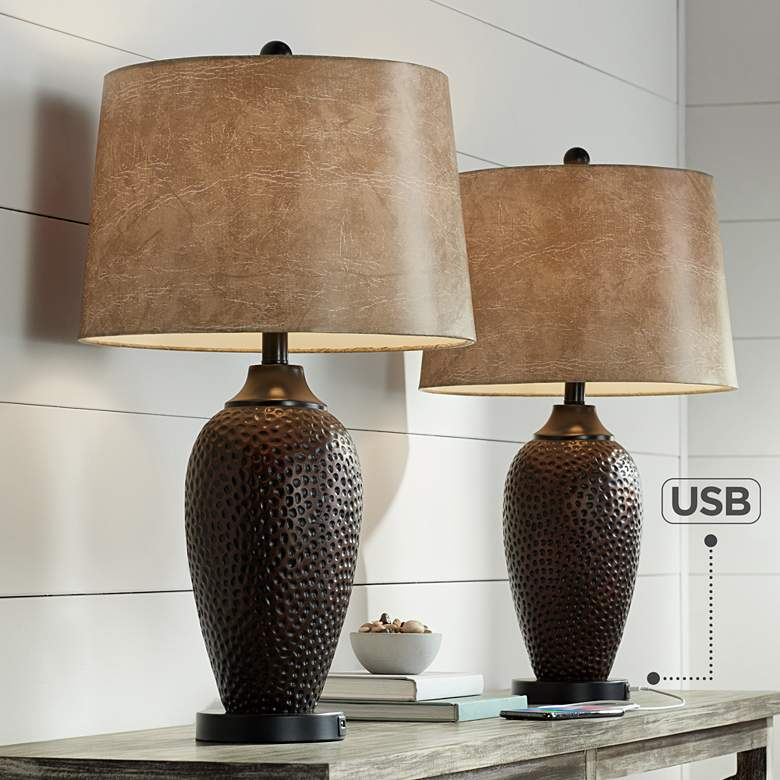 Kaly Hammered Oiled Bronze Table USB Lamps Set