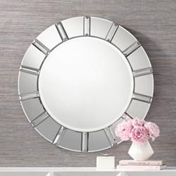 "Possini Euro Tiernan 32"" Round Crystal Wall Mirror"