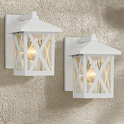 "Elkins 7 1/2"" High White Outdoor Wall Lights Set of 2"