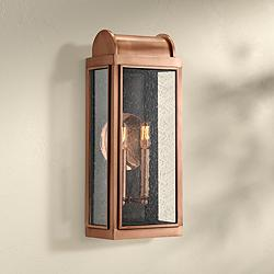 "Quoizel Danville 19"" High Aged Copper Outdoor Wall Light"