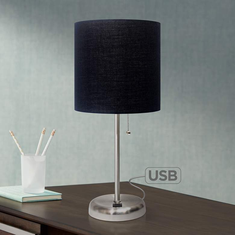"LimeLights Stick Black Shade 19 1/2""H USB Accent Table Lamp"