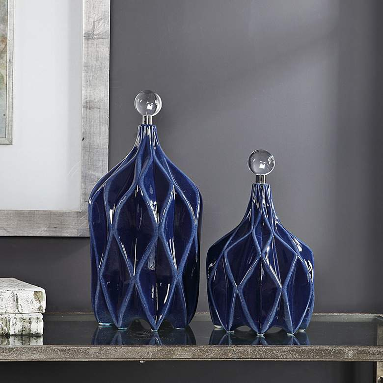 Uttermost Klara Glossy Cobalt Blue Ceramic Bottles Set of 2