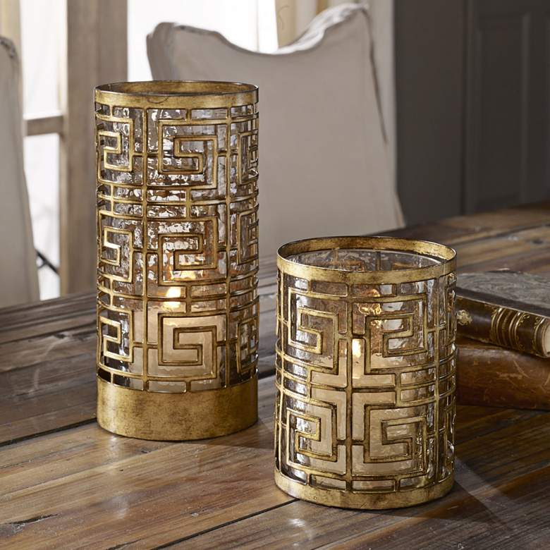 Ruhi Antique Gold Hurricane Candle Holders Set of