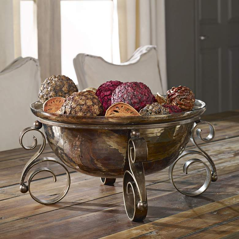 "Uttermost Alya 17"" Wide Rustic Scroll Glass Bowl"