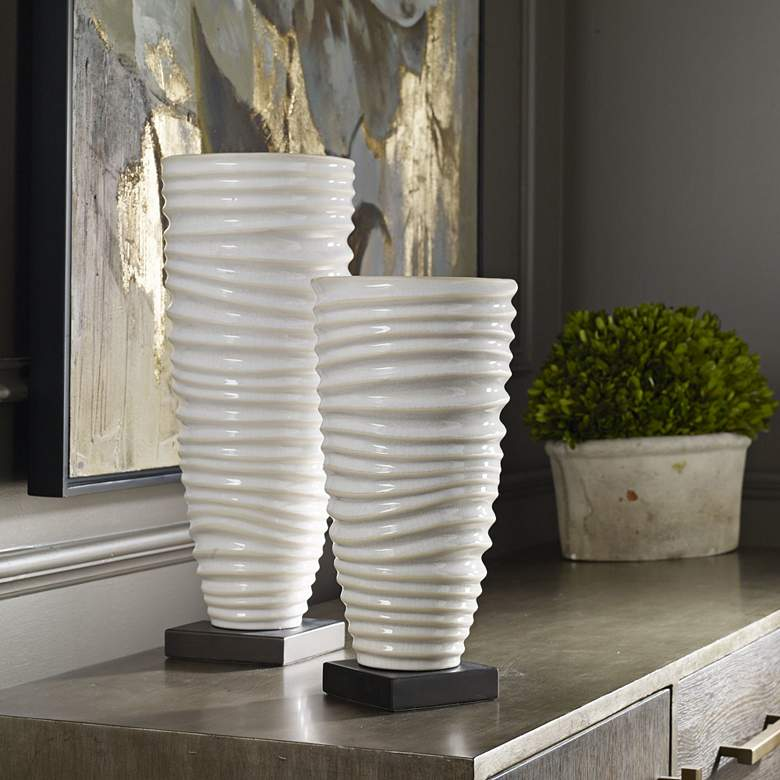 Kiera Ribbed and Crackled Aged Ivory Ceramic Vases