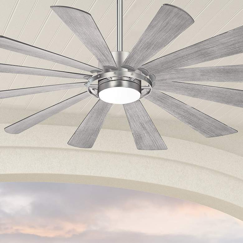 "65"" Minka Aire Windmolen Brushed Steel Smart Fan LED Wet Ceiling Fan"
