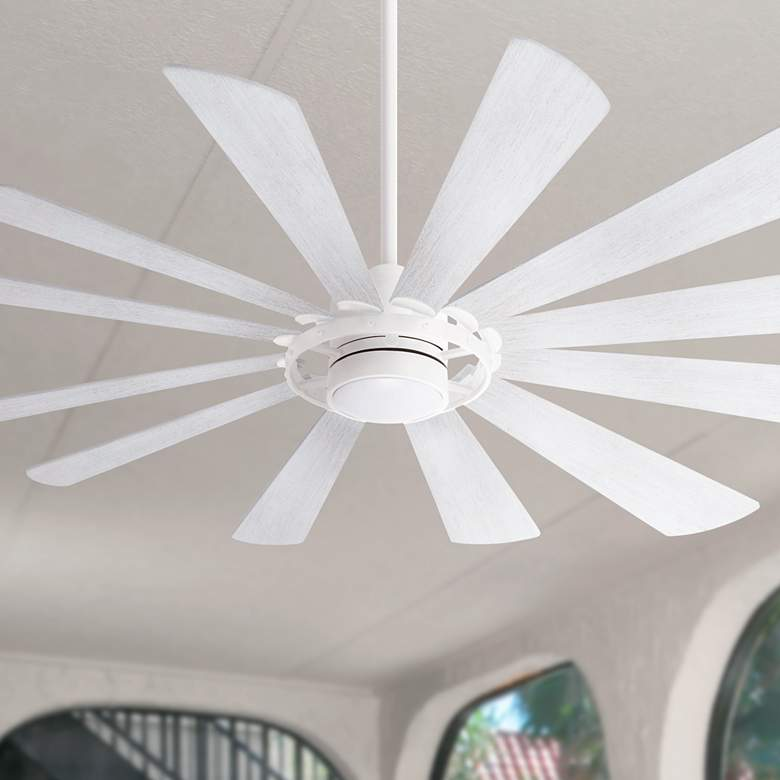 "65"" Minka Aire Windmolen Textured White LED Ceiling Fan"