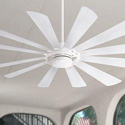 "65"" Minka Aire Windmolen Smart Fan White LED Ceiling Fan"