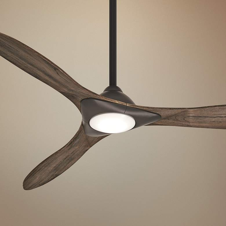 "60"" Minka Aire Sleek Oil Rubbed Bronze LED Smart Ceiling Fan"