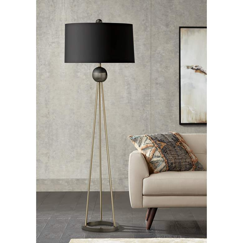 Hadley Pale Brass Tripod Metal Floor Lamp with Black Shade