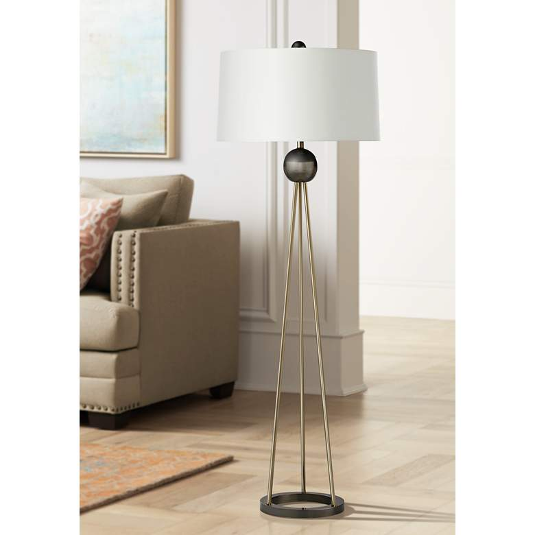 Hadley Pale Brass Tripod Metal Floor Lamp with
