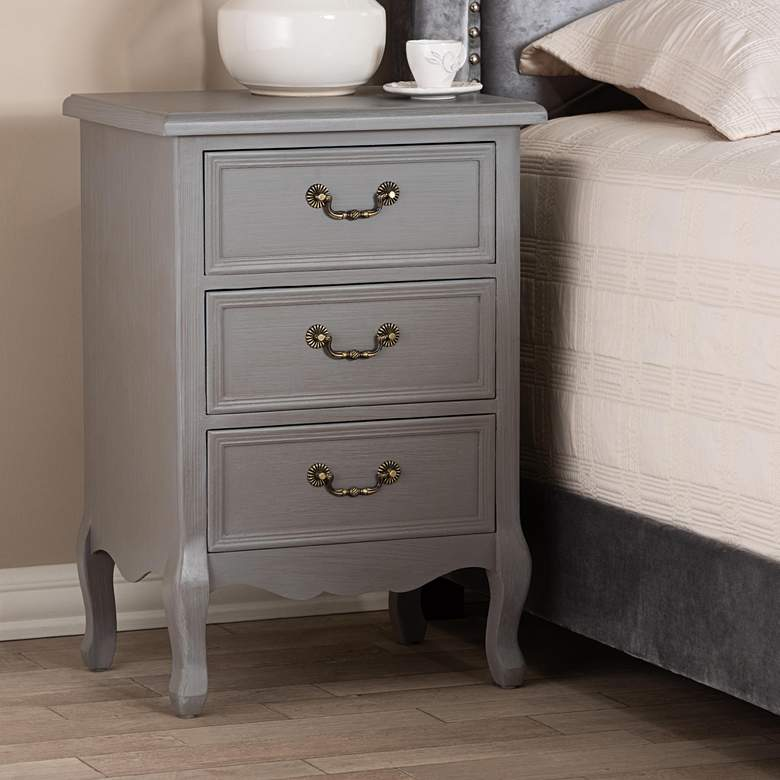 "Capucine 19"" Wide Gray Wood 3-Drawer Bed Nightstand"