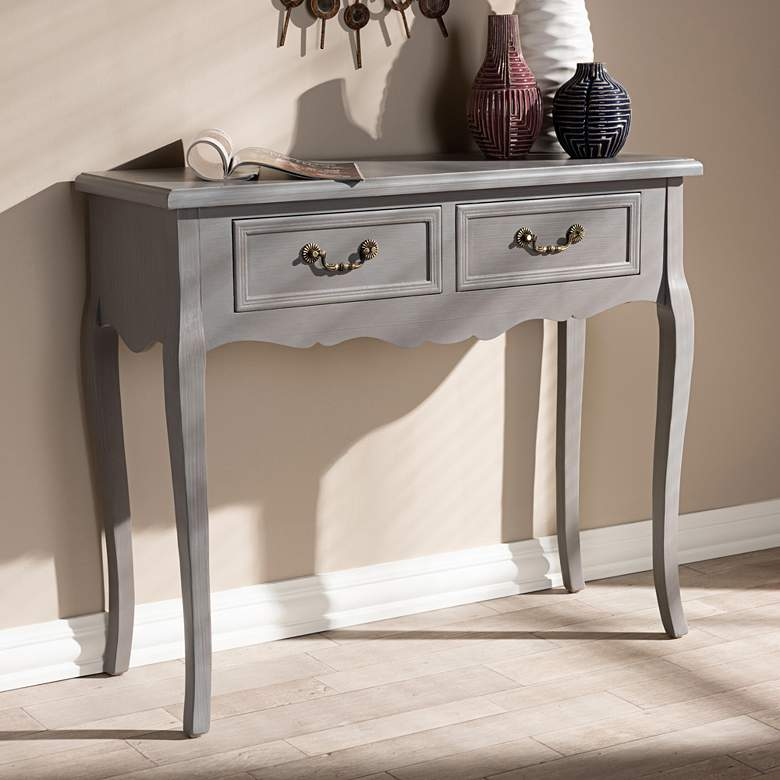 Baxton Studio Capucine Gray Wood 2-Drawer Console Table