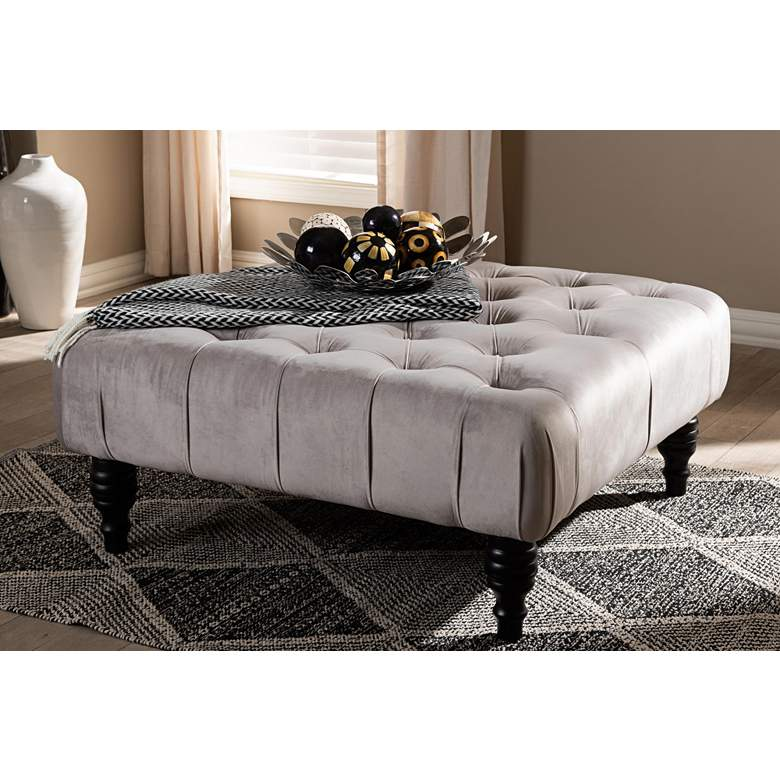 Baxton Studio Keswick Slate Gray Tufted Cocktail Ottoman